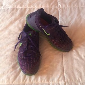 KD NIKE sneakers, purple & lime, size 2 youth